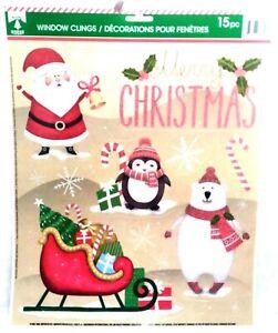 Christmas Reusable Window Clings - MERRY SLEIGH Santa Word Sayings SALE