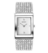 Seksy Krystal Rhodium Plated Womens's Bracelet Watch