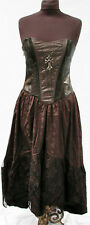 steampunk Victorian Gothic Black Brocade LeatheretteDress S By Raven