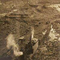 Hazel PA Coal Stripping Train Steam Shovel Strip Mining Shaft Mine Stereoview