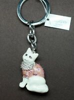 Cat Key Chain Made With Clear & Pink Swarovski Crystals