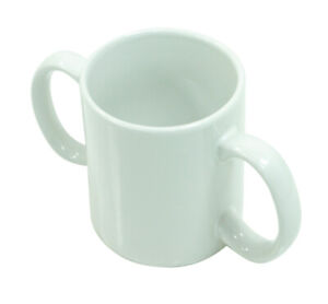 White Two Handled Ceramic Cup Mug For Weak Grip Disability Arthritic Aid
