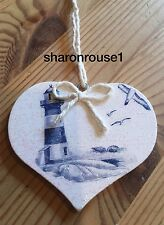 Nautical Seaside Lighthouse Hanging Decoration Birch Wood Hand Painted Decals