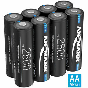ANSMANN Akku AA Mignon 2800mAh NiMH 1,2V - Batterien wiederaufladbar (8 Stück)