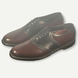 Florsheim Leather Oxfords 2 Tone Saddle Burgundy & Black 12 D 20392 Men's Shoes