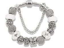 NEW 21cm Antique Beautiful Silver Plated White Butterfly European Charm Bracelet