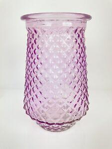 Purple Glass Lantern Candle Holder Art Glass Decor Diamond Pattern CUTE!