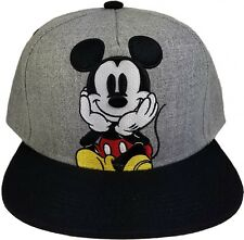 d0d2e6951f0 Disney Mickey Mouse Gray Embroidered Flat Bill Snapback Ball Cap J2