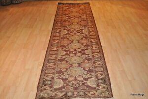 Hall runner rug 3' x 9' TOP QUALITY HANDMADE maroon, brown, grey, tea green wool