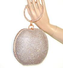 POCHETTE a bracciale ORO ROSA donna clutch cristalli strass borsello borsa G42