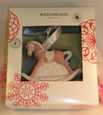 Wedgwood Pink Jaspeware Baby 1st First Christmas Rocking Horse Ornament 2016