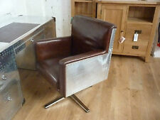 DELUXE FURNITURE, AVIATOR LEATHER & ALUMINIUM SWIVEL CHAIR CODE L-7126