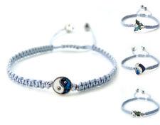 Yin Yang Liebe Muschel Abalone grau silber facettiert Kristall Makramee Armband