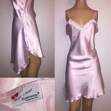 "L Shiny PINK Bias LIQUID SATIN Chemise SLIP 40-42"" Bust Nightgown LACE Lingerie"
