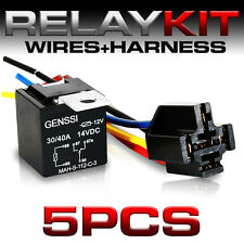 12V 30/40 Amp Spdt Automotive Relay with 5 Wires & Harness Socket (5 Pack)