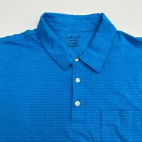 Van Heusen Golf Polo Shirt Men's 2XL XXL Short Sleeve Blue Striped Cotton Blend