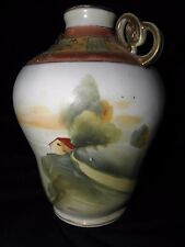 OLD or ANTIQUE NIPPON HAND PAINTED CABIN ON A MOUNTAIN  DOUBLE HANDLED VASE