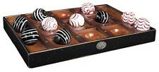 Venetian Collectors Tic-Tac-Toe Game Varnished Cherry Wood Board & Large Marbles