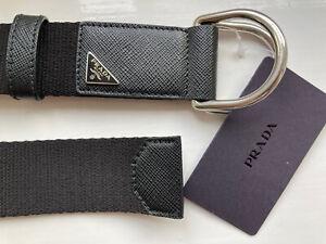 Prada Saffiano Enamel Logo Belt 95 New with tags £225