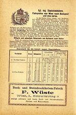 Kgl. ung. Staatsbahnen Fahrpreise von Wien nach Budapest und vice versa...1899