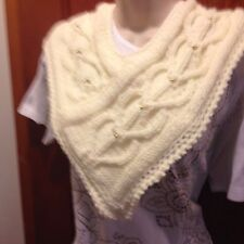 Hand Knit Women's Winter/fashion Scarf Hearts &  Beads. Cream/Gold