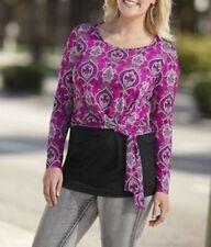 Damen Shirt langarm Pullover Paisley-Print fuchsia schwarz Gr. 52 808270