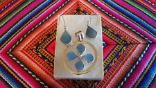 Peruvian 950 Silver Jewelry Set Reversible Necklace Earrings Natural Stone Women
