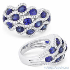 Pave 14k White Gold Right-Hand Fashion Ring 3.22 ct Oval Cut Sapphire & Diamond