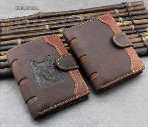 Mens Casual Hasp Many card/money Solts Leather Wallet Purse Brwon