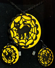 Necklace & Earrings Set Halloween Black Cats with moon Extension Chain dangle