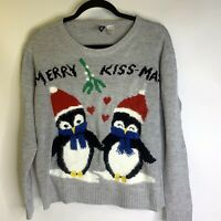 Divided Womens Sweater Penguin Pullover Holiday Fuzzy Blue Christmas Size M