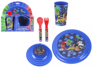 Kids Character 5Pc Plastic Breakfast/Dinner Set Plate/Bowl/Cup/Fork PJ MASK