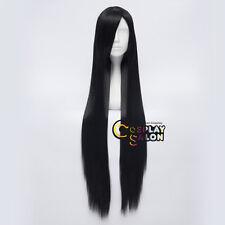 100CM Long Lady Straight Black Heat Resistant Anime Cosplay Wig+Cap
