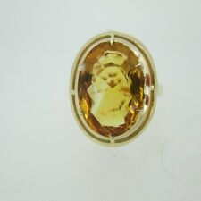 18k Yellow Gold Citrine Solitaire Fashion Ring Size 9