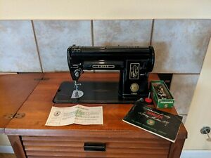 Vintage 1954 Black Singer 301 A Sewing Machine With Number 71 Cabinet and Stool