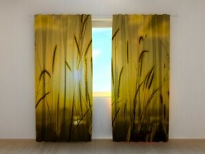 Photo Curtain Printed Sunset in the Field spikelets by Wellmira Made to Measure