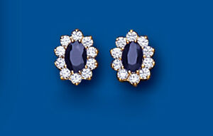 Sapphire Earrings Yellow Gold Stud Cluster Studs Natural Sapphires