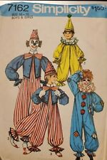 Vtg Simplicity pattern 7162 Boys & Girls Clown Costume size 10-12 uncut