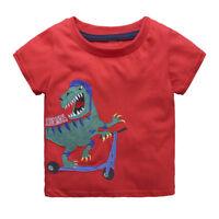 Boys Dinosaur T-Shirt Age 18 24 Mths 2 3 4 5 6 Yrs Kid Red T-shirts Tops Clothes