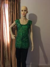 Green Sequin Shinny Sleeveless Top Size L Perfect For Party Wear