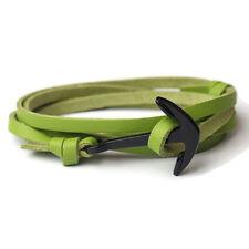 Charm Handmade Men's Stainless Steel Anchor Braided Brown Leather Rope Bracelet