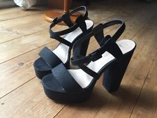 ❤️ Sexy Black Textured Strappy High Block Heels UK7 EU40 Party Stripper Pole