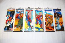 RARE Marvel 6 mini posters set 1980 Thor Spiderman Thing Silver surfer Vintage