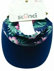 Scunci Everyday Visor Headwrap Hat Blue Tropical Floral New Soft Like A Headwrap