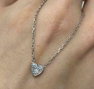 18ct White Gold Cartier Mini Heart Diamond Necklace