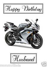 R1 Motorbike Personalised Hand Made Printed Card, any name, age, relation