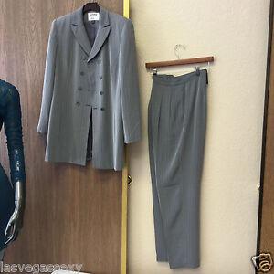 Kasper Gray Pants Suit Double Breasted  Size  Reg. 8 GUC