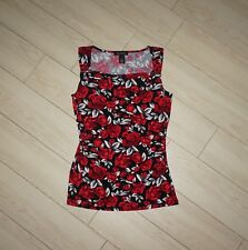 WHBM WHITE HOUSE BLACK MARKET Top Blouse Cowl Neck Floral Red Rose Print S Small