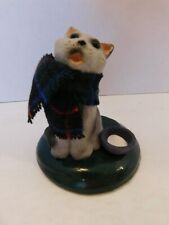 Byers Choice Singing Cat with Blue Tartan Scarf and a Saucer of Milk - 1997
