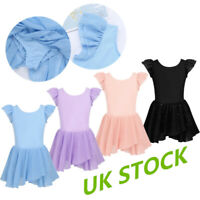 UK Girls Gymnastics Ballet Dance Tutu Dress Leotards Glitters Skirt Kids Costume